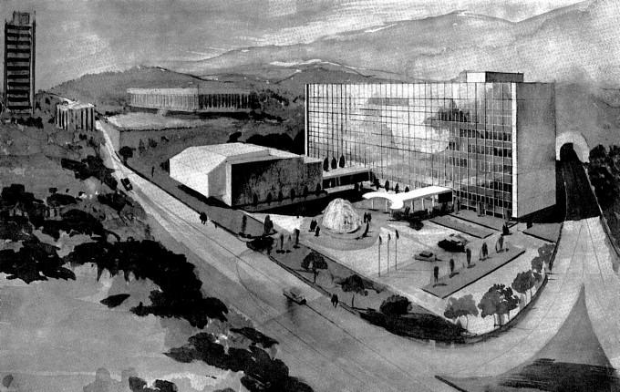 1971년 본관 설립이 결정된 이후 나온 조감도다. 한국과학기술단체총연합회 제공