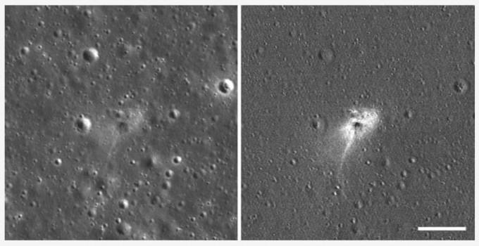 ′베레시트′가 달 표면에 부딪히기 전(왼쪽)과 부딪힌 후의 모습이 공개됐다. NASA 제공