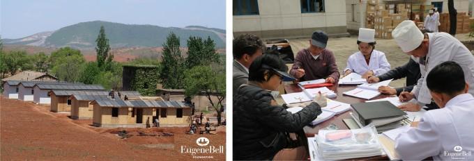 지난해 11월 유진벨재단이 평양에 지은 결핵 환자용 병동(왼쪽)과 북한보건성 관계자와 현지 의료진, 유진벨재단 대표단이 환자들의 치료 경과에 대해 논의하고 있는 모습(오른쪽). 유진벨재단 제공