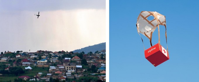 아프리카 르완다와 가나에서 혈액샘플 등을 전달하는 목적으로 개발된 의료용 드론 ′집라인′. 시속 약 100km로 날며 목적지에 도착하면 낙하산에 샘플을 달아 조심스레 떨어뜨린다. 집라인 제공