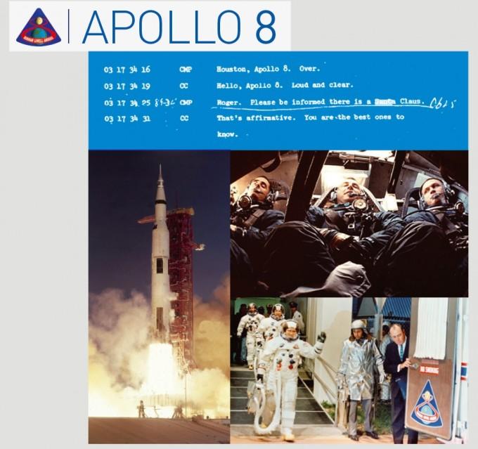 """""""산타클로스가 정말 있네요."""" """"당신이 제일 잘 알겠죠."""" 아폴로 8호 우주비행사들은 지상과 교신이 끊긴 상황에서 지구 귀환을 위한 엔진 점화에 성공하자 기뻐하며 이렇게 말했다. 크리스마스 당일에 어울리는 미국식 유머였다. 산타의 선물(?) 덕분일까. 아폴로 8호는 무사히 지구로 돌아올 수 있었다."""