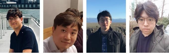 (왼쪽부터)이도창 KAIST 생명화학공학과 교수와 배완기 성균관대 교수, 임재훈 아주대 교수, 박휘동 미국 로스알라모스 국립연구소 박사후연구원 공동연구팀은 스스로 빛을 내는 소자인 양자점의 성능을 획기적으로 높이는 방안을 개발했다. 한국연구재단 제공
