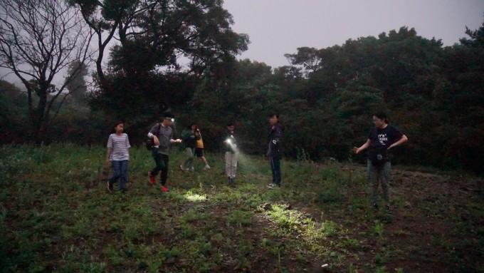 탐함대학 학생들이 설치한 무당개구리 모형을 수거하기 위해 수풀 속을 수색하고 있다.