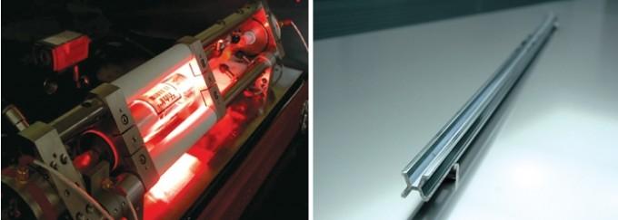 (왼쪽) 한국에서는 1983년부터 진공 상태에서의 헬륨네온 레이저 파장을 이용해 1미터 표준원기를 만들어 사용하고 있다. (오른쪽) 조선시대 말, 프랑스 국제도량형국(BIPM)으로부터 도입한 1m 원기. 백금과 이리듐의 합금이다. 한국표준과학연구원 제공