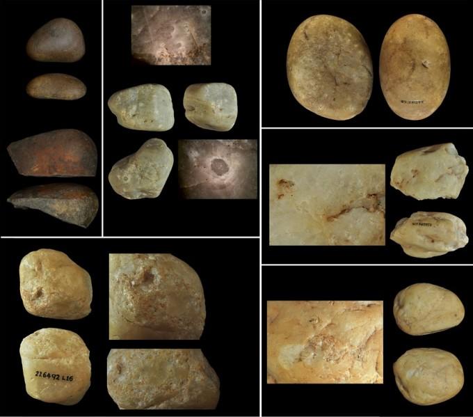 카푸친원숭이가 사용한 도구들. 위 셋은 왼쪽부터 차례로 캐슈넛을 갈아 먹는 오늘날의 석기, 257년 전의 석기 망치(가운데)와 모루(오른쪽). 아래 셋은 가장 오래 전인 약 3000년 전까지 사용하던 석기. 작은 씨앗 등을 때려 가공해 곳곳에 흔적이 남아 있다. 모든 석기는 대략 어른 주먹 반보다 작은 크기다. 사진제공 네이처 생태진화