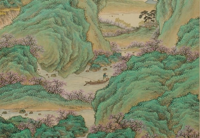 조선시대 화가 안중식의 작품으로 ′도화원기′를 바탕으로 한 '무릉도원'을 그렸다.  무릉에 사는 한 어부가 배를 타고 가다가 길을 잃어 복숭아꽃이 만발한 별천지에 이르렀다는 이야기이다. 국립중앙박물관 제공