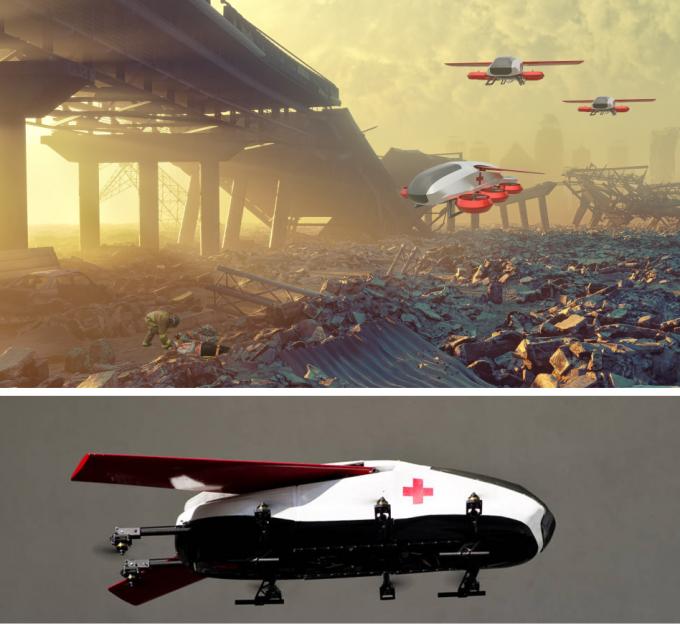 모리 가리브 미국 캘리포니아공대 구겐하임 항공연구소 항공및생체공학과 교수팀이 개발한 1인승 환자 수송용 드론(아래쪽)과, 이 드론이 비행하는 모습을 상상한 그림(위). 칼텍 제공