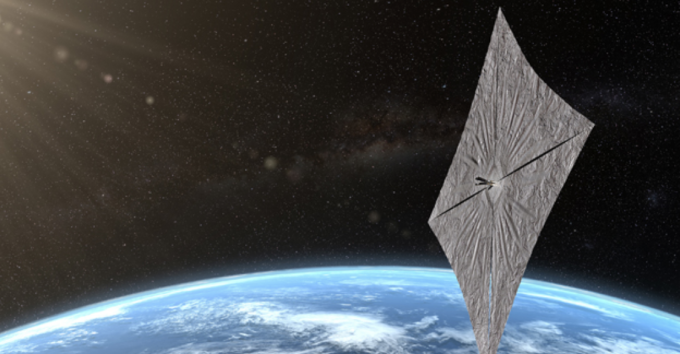 24일 720km 상공에서 행성협회의 우주 돛단배 '라이트세일2호'가 36㎡ 크기의 돛을 성공적으로 펼쳤다. 사진은 태양을 마주한 라이트세일2호의 상상도. 행성협회 제공