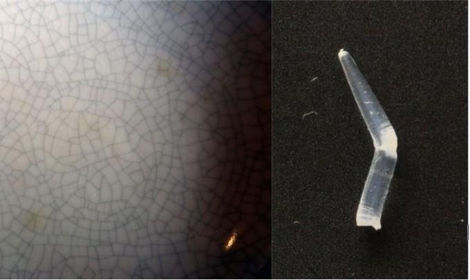 도자기 표면에 바른 유약에 금이 가 그물망처럼 보이는 현상을 크레이징이라고 부른다(왼쪽). 투명한 플라스틱을 굽히거나 잡아당기면 깨지기 직전 하얗게 변하는 현상도 크레이징이라고 부른다(오른쪽). 이 부분을 현미경으로 보면 플라스틱에 미세한 금이 가 있다. 위키피디아/강석기 제공