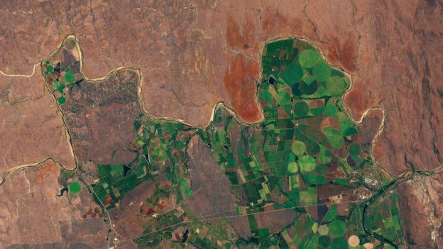 남아프리카 지역 농작물 경작지를 위성으로 촬영한 모습. ESA 제공.