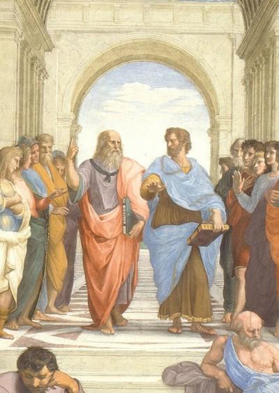 아테네 학당에 등장하는 플라톤과 소크라테스. 위키미디어 제공