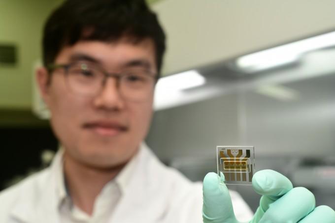 임경근 한국표준과학연구원 나노구조측정센터 선임연구원이 개발에 성공한 고성능 수직 유기 트랜지스터를 선보이고 있다. 한국표준과학연구원 제공