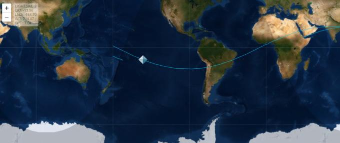 행성협회는 홈페이지(httpwww.planetary.org)를 통해 라이트세일 2호가 현재 지구궤도에서 어디쯤 지나는지 위치를 제공하고 있다. 사진은 24일 오후 2시 현재 라이트세일 2호가 지나는 위치. 행성협회 제공