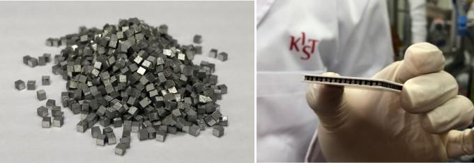 산화아연층 및 열전재료로 제작된 열전 소자의 모습이다. KIST 제공