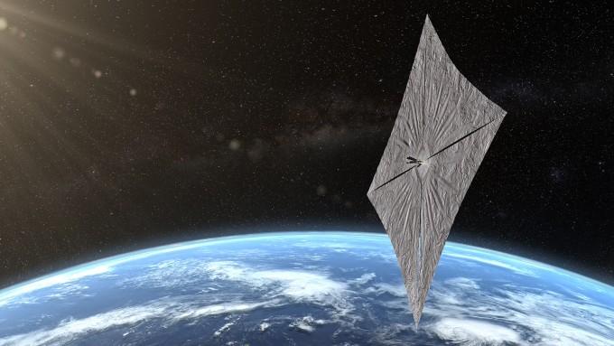 라이트세일 2호가 태양돛을 펴고 우주항해하는 모습을 상상한 일러스트. 행성협회 제공