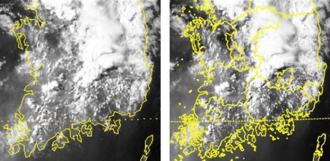 천리안1호와 천리안2A호가 관측한 서해안 대류운 발생 영상 비교. 과기정통부 제공.