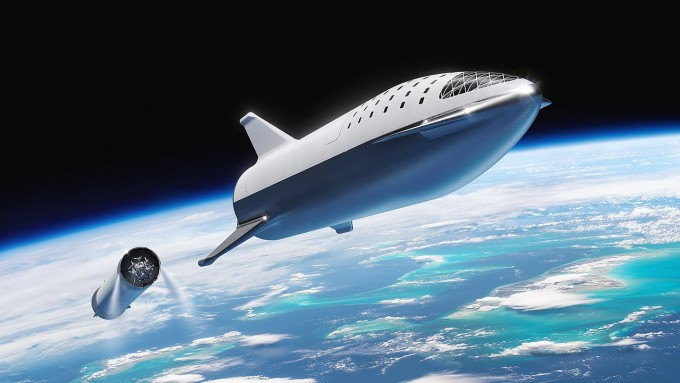 미국의 민간우주기업 스페이스X가 개발 중인 대형 발사체 빅팰컨로켓(BFR)의 상상도. 사진제공 스페이스X
