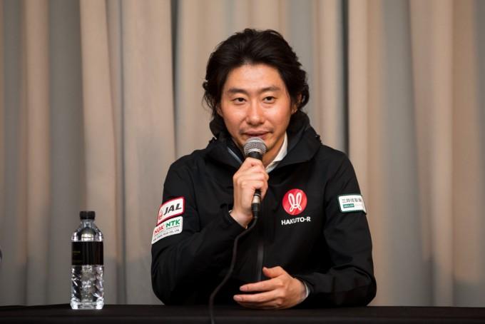 하카마다 다케시 아이스페이스 대표가 19일 서울 여의도 콘래드호텔에서 열린 코리아스페이스포럼 기자간담회에서 발언하고 있다. 코리아스페이스포럼/AZA