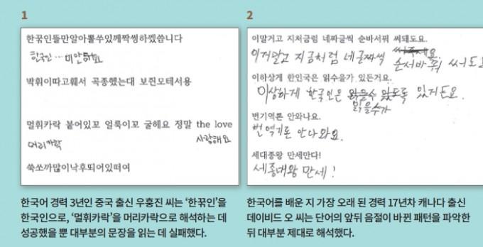 외국인 10명의 언어인지 실험 결과. 한국어를 배운 경력이 1-17년으로 다양한 외국인 10명에게 두 종류의 구문이 인쇄된 시험지를 나눠주고 5분 안에한글로 해석하게 했다. 완벽하게 해석한 사람은 아무도 없었다. 과학동아 제공