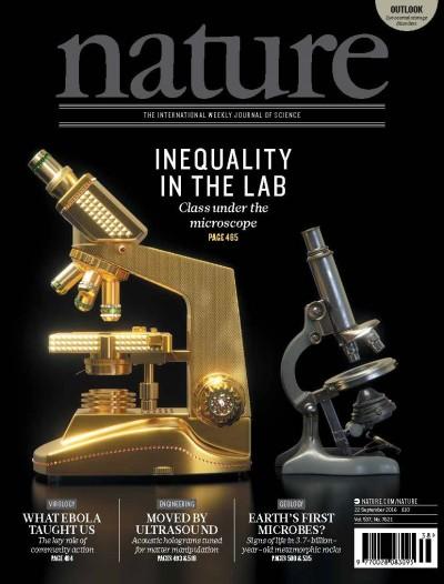 """Undemocracy"": inequalities in science.""Undemocracy"": inequalities in science. 과학계의양극화를다룬네이처지의표지.금수저흙수저처럼,금으로된현미경과철로된현미경의대비가인상적이다. 사이언스지 제공 사이언스지 제공"