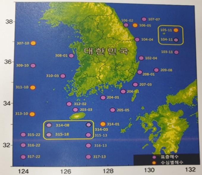 해양방사능 해수 조사 정점. 울릉도 부근 2개의 정점은 월 1회, 제주도 남쪽 인근 4개의 정점은 월 2회, 나머지 26개 정점은 연간 4회 조사하고 있다. 원자력안전위원회 제공.