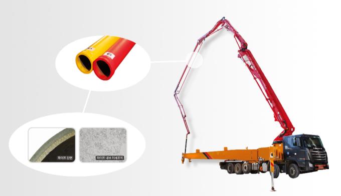 케이엠티가 개발한 콘크리트 펌프카용 이송관 사진. 재료연구소 제공