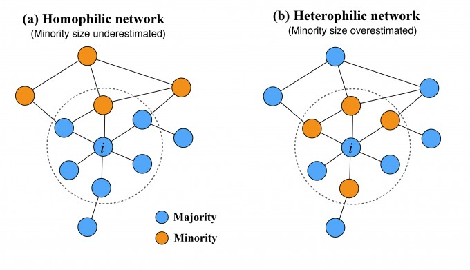 동질성이 높은 네트워크의 구조(왼쪽)에서는 사람들이 소수자의 규모를 작게 인식하는 경향이 있다. 반면 동질성이 낮은 네트워크에서는  소수자의 규모가 실제보다 크게 인식된다. 네이처 인간행동 제공