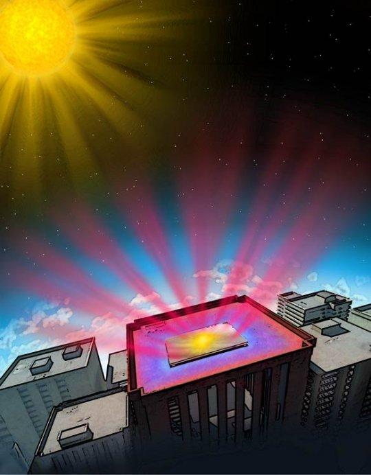 도심 빌딩 옥상에 복사냉각 시스템을 설치해 빌딩 내부의 열을 하늘로 방출하는 모습을 표현했다. 빌딩이 받아들인 열을 하늘로 복사시켜 방출해 빌딩의 온도를 낮춘다. 미국 스탠퍼드대 제공