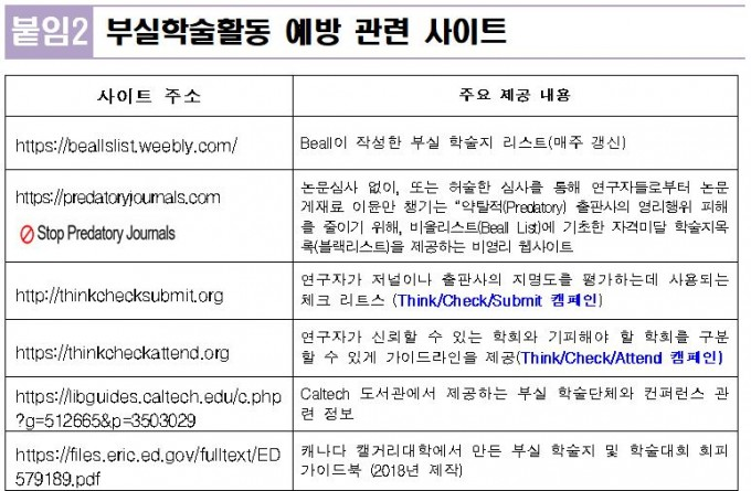 연구재단이 지난해 제공한 ′부실학술활동 예방을 위한 권고사항′을 보면 ′비올 리스트′가 예방 관련 사이트로 올라갔음을 볼 수 있다. 한국연구재단 제공
