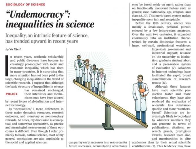 비민주성: 과학계의 불평등(Undemoracy: inequalities in science), Yu Xie. 사이언스 제공
