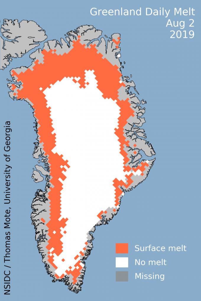 이달 2일 그린란드에서 빙하가 녹고 있는 지역을 표시한 지도다. 절반이 넘는 지역이 열파로 인해 녹고 있음을 볼 수 있다. 미국 국립빙설자료센터 제공