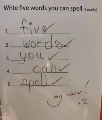 천재 학생의 영어 시험 답안지