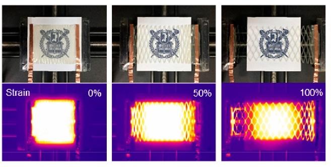 길게 늘여도 열적, 기계적 안정성을 유지하는 전자피부가 나왔다. 원래 형태보다 100% 늘여도 성능에 문제가 없다. 연구팀은 종이를 일정한 패턴으로 오리는 ′기리가미′ 기법을 이용해 신축성이 좋은 투명 전자피부를 완성했다. 나노레터스 제공