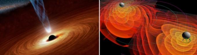 블랙홀은 강한 중력으로 시공간을 왜곡시킨다. 간혹 두 블랙홀이 합쳐지면서 일부 질량이 중력파를 발생시킨다. 왼쪽 사진은 블랙홀의 상상도. 오른쪽 사진은 충돌하는 두 블랙홀이 주변에 중력파를 발생시키는 모습을 그렸다. 중력파는 그동안 빛을 통해 관측하기 어려웠던 블랙홀 연구에 새 돌파구를 열었다. NASA