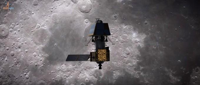지난 9월 달 착륙을 시도했던 인도 달 탐사선 '찬드라얀 2호'의 착륙선이착륙 도중 속도를 늦추는 장치가 오작동해 추락한것으로 밝혀졌다. 사진은 달 궤도를 도는 찬드라얀 2호의 상상도다. 인도우주연구기구(ISRO) 제공
