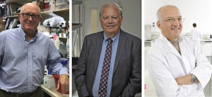 항체가 특정 암세포를 표적으로 삼아 공격하는 치료제를 개발하는 데 도움을 준 공로로 올해 임상의학 부문 래커스상을 수상한 세 과학자. 왼쪽부터 마이클 셰퍼드 바이오 제약컨설턴트와 데니스 슬라몬 미국 로스앤젤레스 캘리포니아대 혈액종양학과 교수, 악셀 울리히 독일 막스플랑크생화학연구소 분자생물학연구단장이다. 악셀 울리히 제공