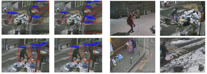 쓰레기 투기 장면을 감지하는 기존  AI(왼쪽)와 ETRI 연구팀이 새로 개발한 AI(오른쪽)를 비교했다.