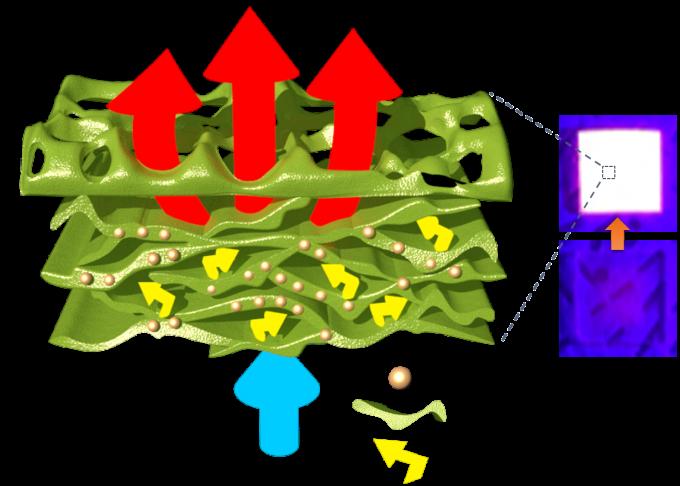 블록공중합 고분자 및 퀀텀닷으로 이뤄진 나노 복합소재의 구조다. 구멍 많은 블록공중합 고분자가 스펀지나 팝콘 같은 다공성 구조를 형성해 빛을 산란해 빛 흡수율과 방출도를 높였다. 퀀텀닷 외에 기존 LED에도 응용할 수 있다. KAIST 제공