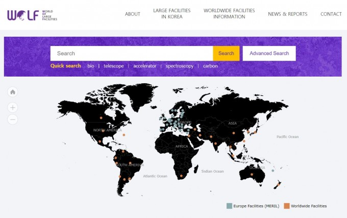 과학기술정보통신부는 30일 국내 130여개와 유럽 750여개 연구시설 정보를 연계하는 플랫폼인 WOLF를 개통했다. WOLF홈페이지 캡쳐