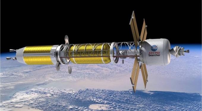핵 열추진 기술을 이용해 추진하는 우주선 상상도. NASA 제공.