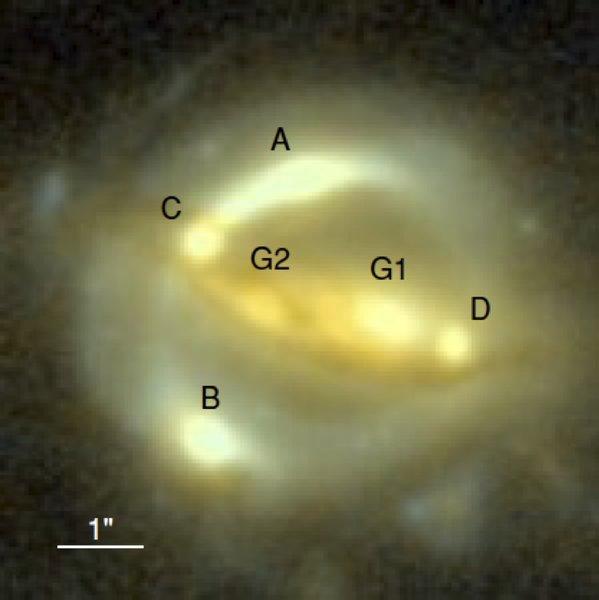 지인 독일 막스플랑크 천체물리학연구소 연구원팀은 중력렌즈를 활용해 허블상수를 구하는 새로운 기법을 제시했다. 중력렌즈 역할을 하는 은하(G1)으로 인해 여러 곳에서 동시에 나타나는 별빛(A,B,C,D)(A,B,C,D)을 분석해 렌즈 은하의 크기를 구하고 이를 통해 허블상수를 계산했다. 막스플랑크 천체물리연구소, 세리 수유 제공