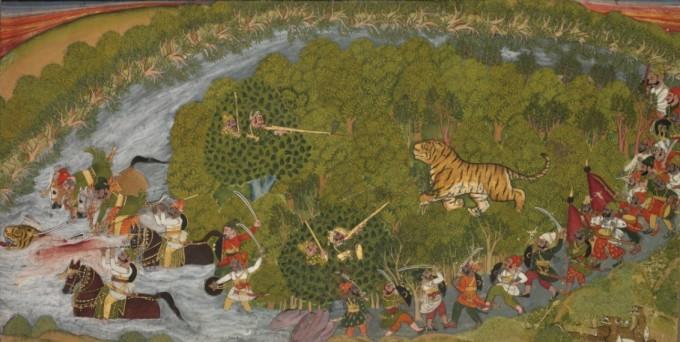 호랑이 사냥의 풍경을 담은 그림. 1800년대 초반에 인도에서 그린 것으로 추정된다.