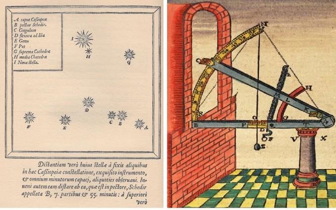 브라헤가 남긴 당시의 관측 데이터는 세계 최고 수준이라 할수 있다. 브라헤가 발견한 SN1572 초신성(왼쪽) 자료와 별을 관측할 때 사용한 육분의(왼쪽). 위키피디아 제공