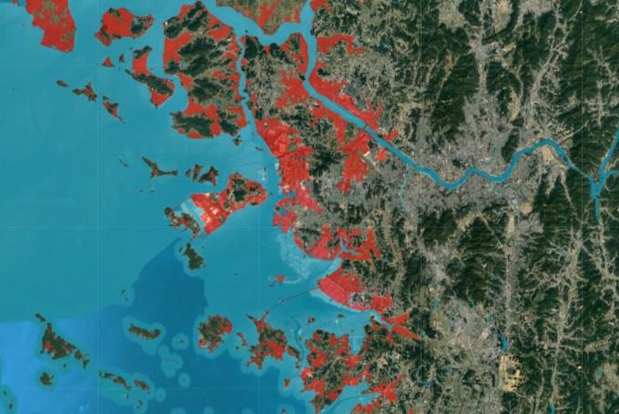 한국의 인천 지역 지도다. 기후변화로 인해 2050년 침수 피해를 겪을 지역이 빨간 색으로 표시돼 있다. 기후변화에 관련한 비영리조직 ′클라이메이트 센트럴′은 한국도 2050년까지 65만 명이 기후변화로 침수 피해를 입을 수 있다는 연구결과를 발표했다. 클라이메이트 센트럴 홈페이지 캡처