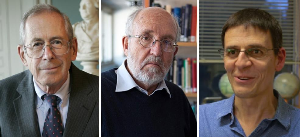 2019 노벨물리학상 수상자가 발표됐다. (왼쪽부터) 제임스 피블즈 프린스턴대 교수, 마이클 마이어 제네바대, 디디에 켈로즈 제네바대 천체물리학과 겸 케임브리지대 교수 . 노벨위원회 제공
