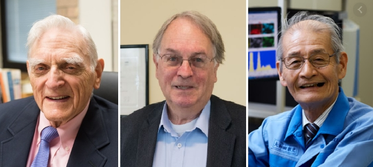 2019 노벨화학상 수상자가 발표됐다. (왼쪽부터) 존 구디너프 미국 텍사스대 교수, 스탠리 위팅엄 미국 빙햄튼대 교수, 요시노 아키라 일본 메이조대 교수