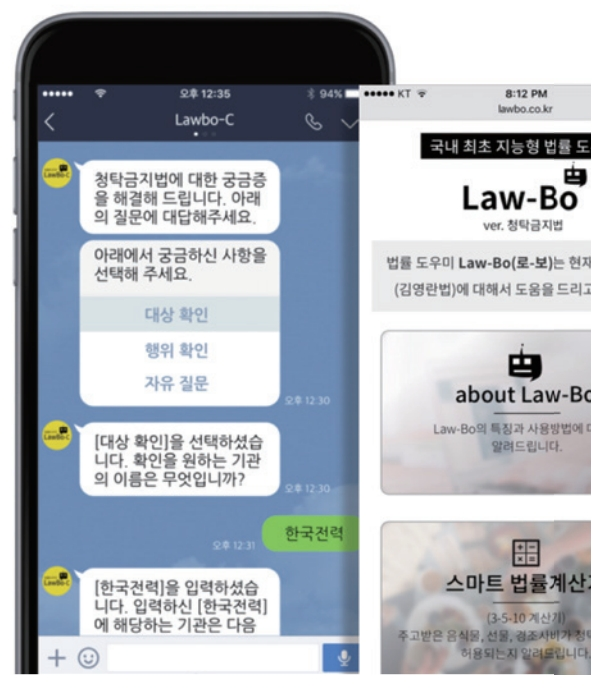′부정청탁 및 금품 등 수수의 금지에 관한 법′ 시행에 맞춰 2017년 시범운영한 Q&A형 법률 AI ′로보(Law-Bo).′ 인텔리콘연구소는 로보와 CIA를 포함한 여러 법률 AI 서비스를 제공하는 플랫폼을 연말에 선보일 예정이다. 인텔리연구소 제공