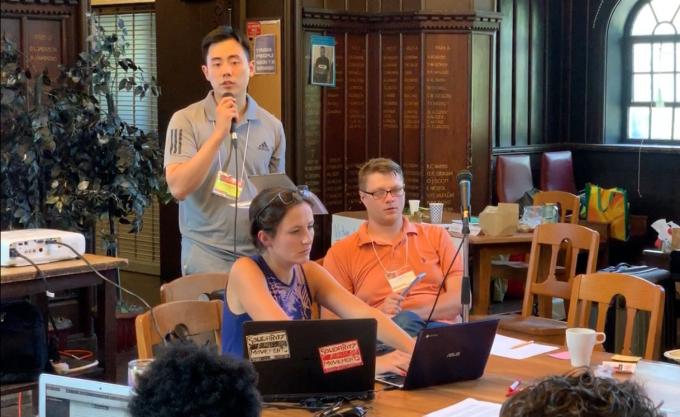 지난 8월 15일 열린 북미지역 대학원생노동조합연합(CGEU) 연례회의에 참석해 결의안에 대해 설명하고 있는 필자의 모습이다. CGEU 2019 조직위원회 제공