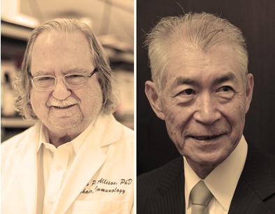 지난 해 노벨 생리의학상을 수상한제임스 앨리슨 미국 MD앤더슨암센터 교수와 혼조 다스쿠 일본 교토대 명예교수. 두 사람은면역계가 면역 반응 억제를 조절하는 메커니즘을 이용해 암을 치료하는 방법을 알아낸 공로를 인정받았다. 노벨상위원회 제공