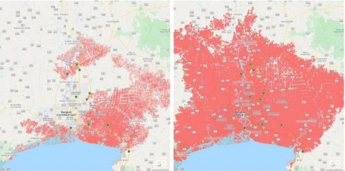 태국 방콕 지역의 지도다. 왼쪽은 기존 분석법에서 예측한 2050년 홍수 피해 지역이고 오른쪽은 새로운 분석법으로 예측한 홍수 피해 지역이다. 클라이메이트 센트럴 제공